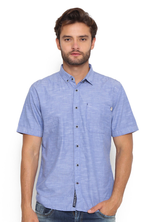 Osella Man Shirt Short Sleeve Chambray Slub Blue
