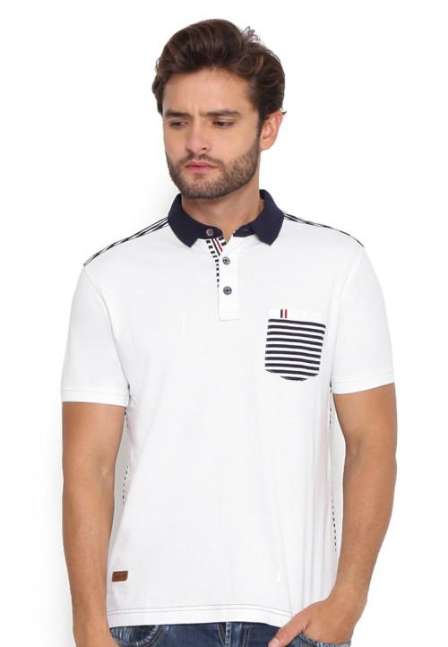 Osella Man T-Shirt Fashion Kombinasi Print White
