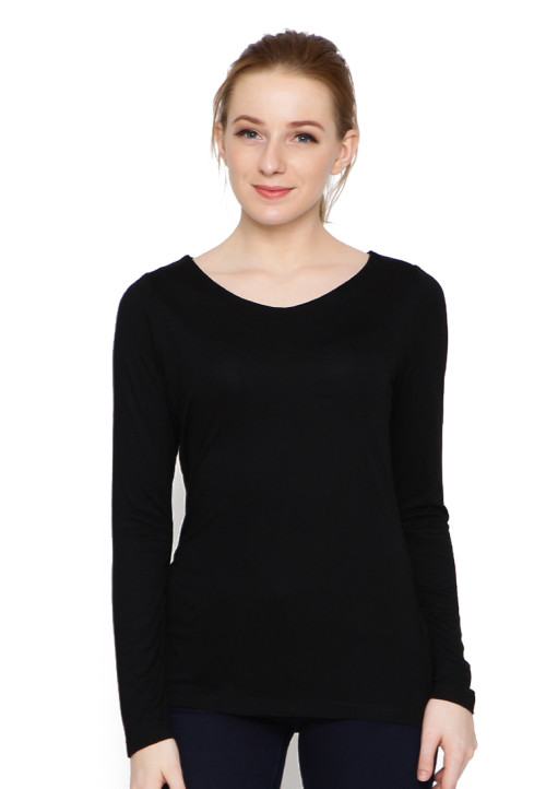 Osella Woman T-Shirt Print Black Solid With Kalung Black