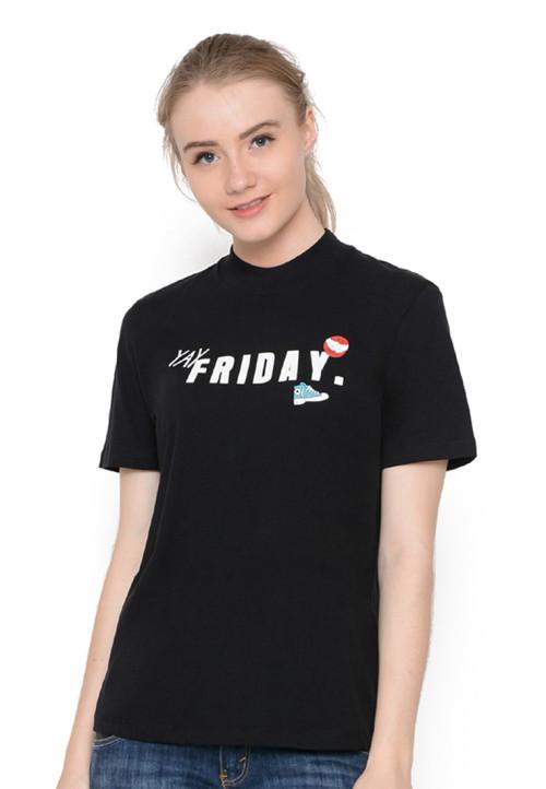 Osella Woman T-Shirt Print Friday Pull Bear Black
