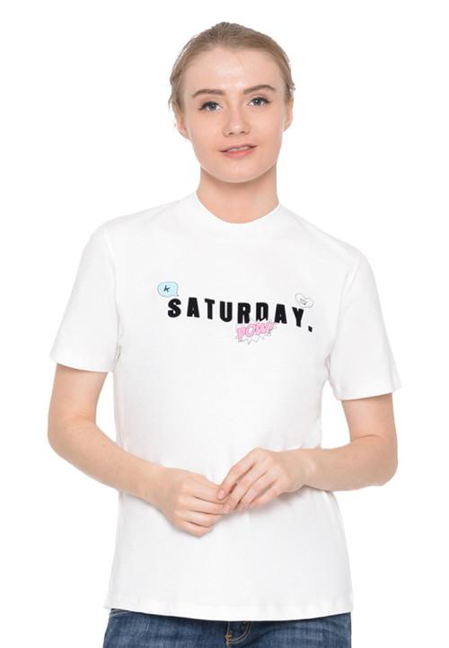 Osella Woman T-Shirt Print Saturday Pull Bear White