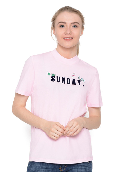 Osella Woman T-Shirt Print Sunday Pull Bear Cerry Pink