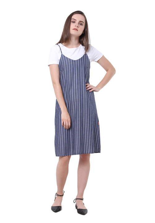 Osella Woman Dress Chambray White Stripe Navy