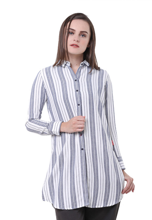Osella Woman Shirt  Long Sleeve Heringbone 19965B Navy White Stripe