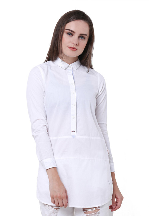 Osella Woman Shirt Long Sleeve Tunik  White Cotton 40 S White