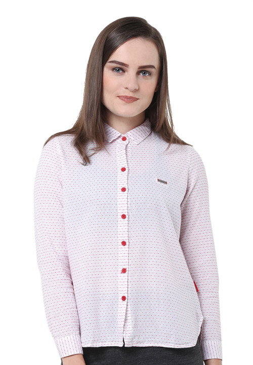 Osella Woman Shirt Long Sleeve  Dobby Horizontal Bt Red
