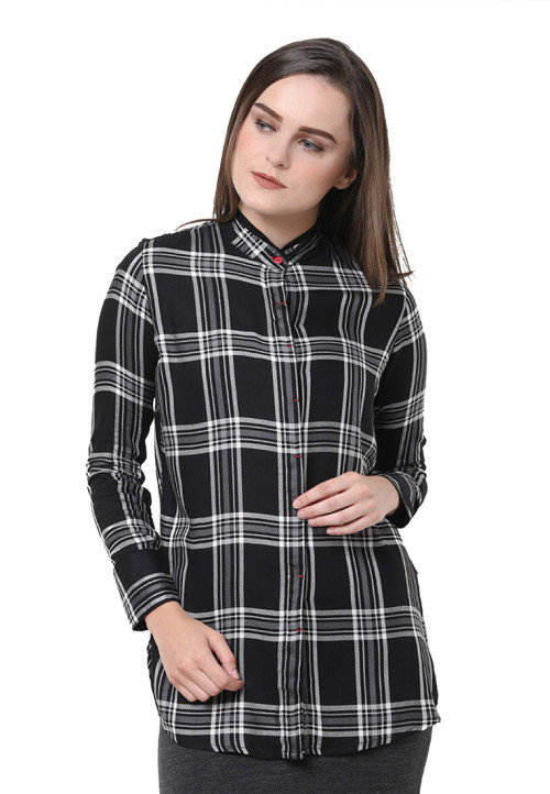 Osella Woman Shirt Long Sleeve Check White Black Aling Black