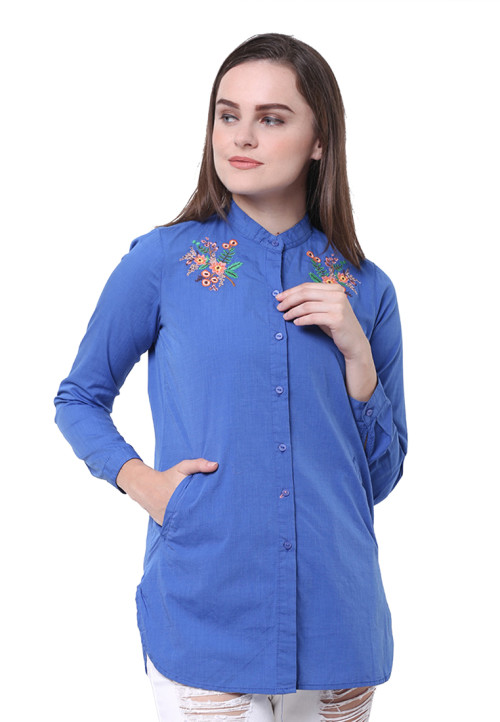 Osella Woman Shirt  Long Sleeve Filafil Blue With Embro Blue