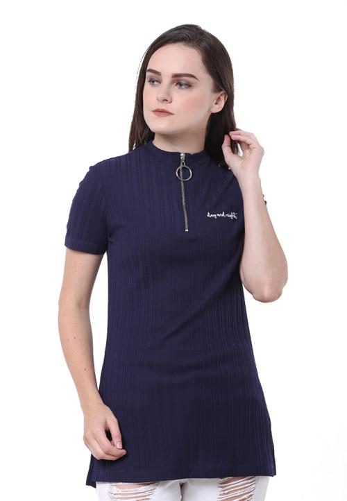 Osella Woman Tshirt Short Sleeve Sleeve With Zipper Ring Black Navy