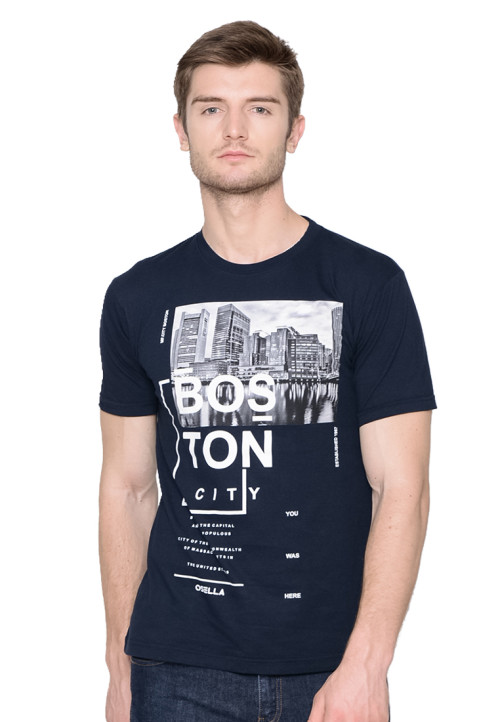 Osella Man T-SHIRT PRINT BOSTON NAVY Indigo