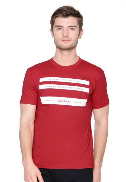 Osella Man T-SHIRT AUTHENTIC BRAND FLOCKING MERAH Red