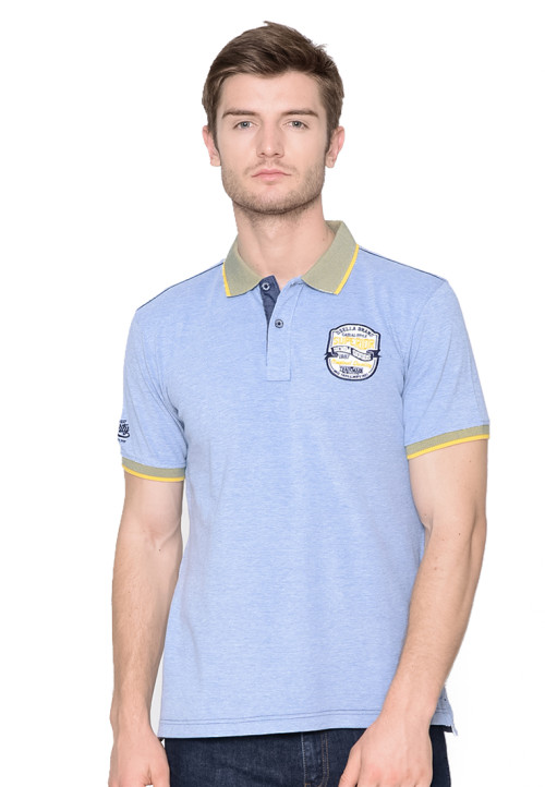 Osella Man polo shirt fashion man bird eye superior jakard Blue
