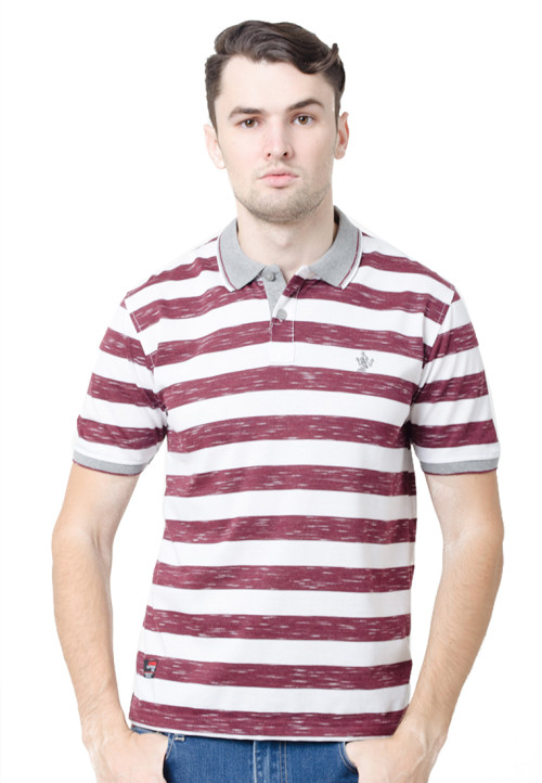 Osella ManOsella Man Polo Shirt Stripe Burgundy 1