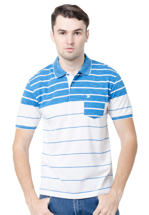 Osella ManOsella Man Polo Shirt Stripe Blue 2