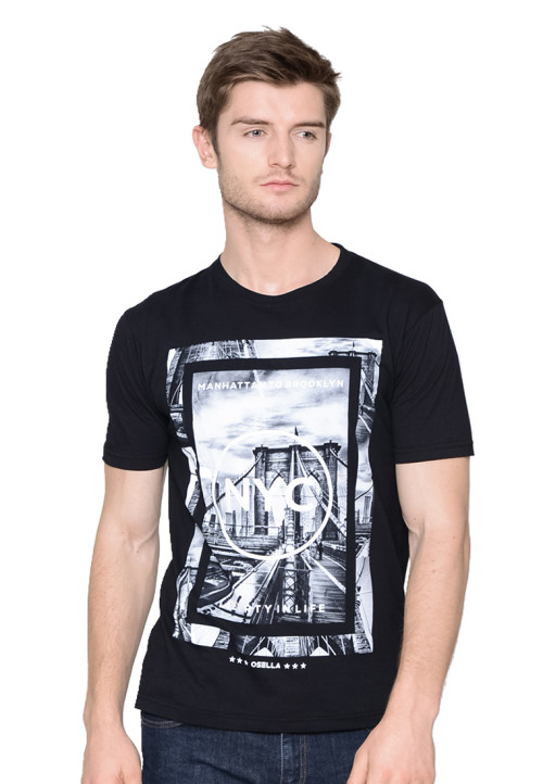 Osella Man T-SHIRT PRINT MANHATTAN BROOKLYN NYC Black