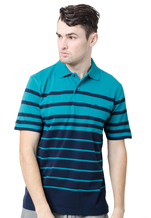 Arnett Polo Shirt Stripe Teal Green