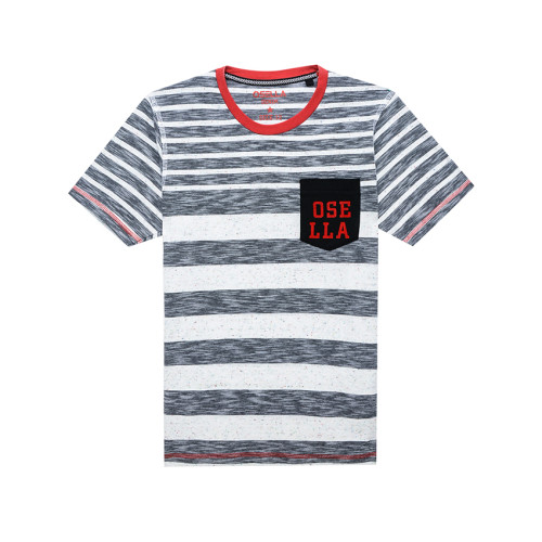 Osella Kids T-shirt Osella Kids stripe black kantong flocking red Black