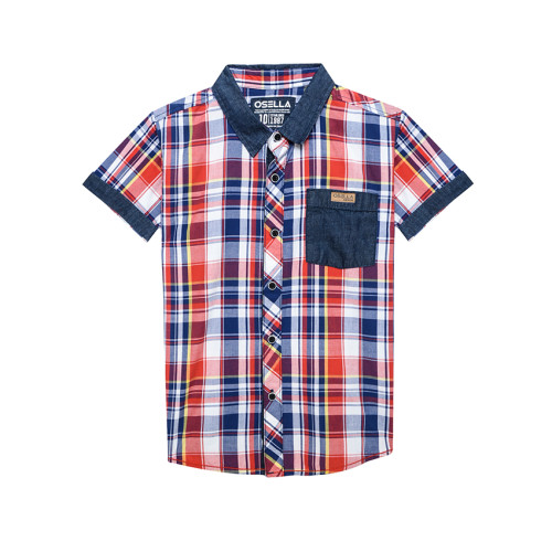 Osella Kids SHIRT SHORT KOTAK 1 POCKET STRIPE S/S Navy