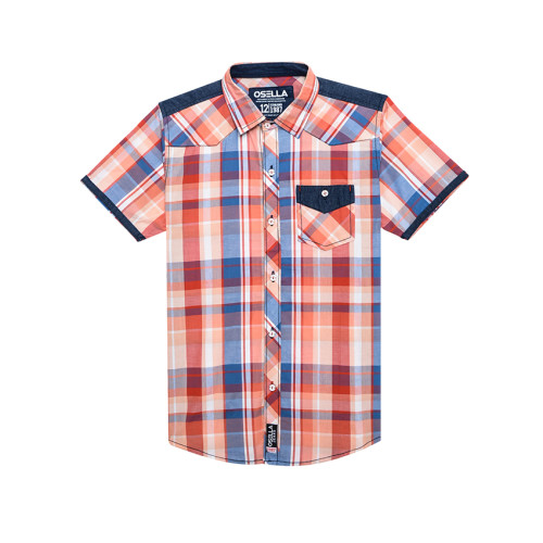 Osella Kids SHIRT SHORT KOTAK KOMB COKLAT S/S Orange