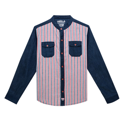 Osella Kids SHIRT LONG STRIPE RED WHITE DK.GREY L/S Red