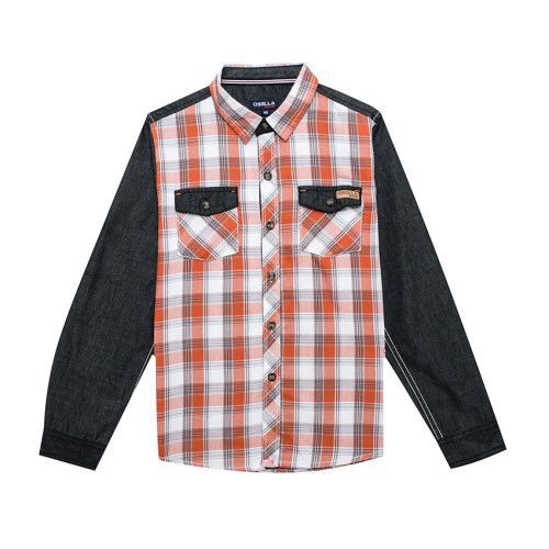 Osella Kids SHIRT LONG KOTAK ORANGE WHITE GREY L/S Orange