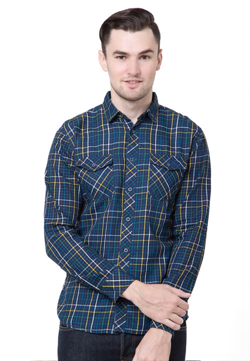 Osella Man Shirt Long Sleeve Y/D Indigo Ben Shrerman Navy Check Navy
