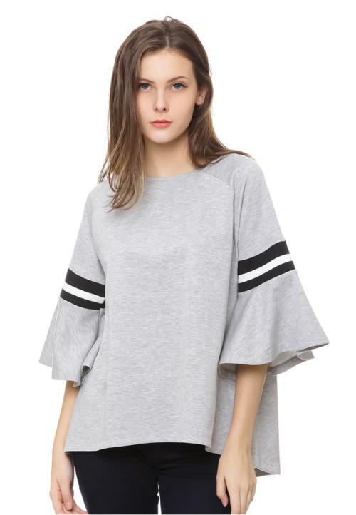 Osella Woman frill sleeve t shirt grey