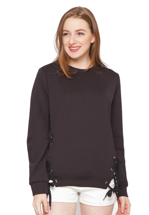 Osella Woman Sweater Scuba With Variasi Eyelet Black