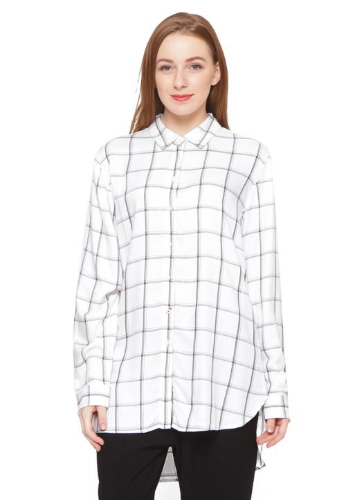 Osella Woman Long Sleeve Tunic Rayon Black White Check White
