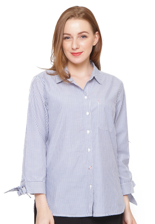Osella Woman Long Sleeve Shirt With Tie Ctn Blue White Stripe