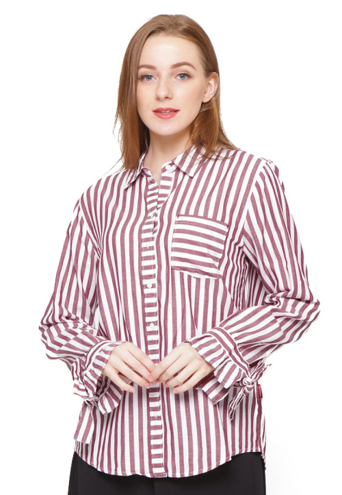 Osella Woman Long Sleeve Shirt With Tie Ctn Red White Stripe