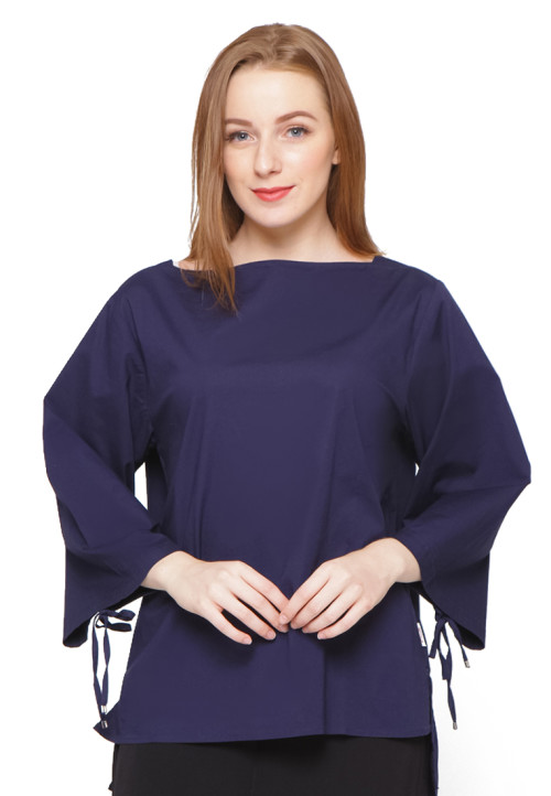 Osella Woman Long Sleeve Blouse Poplin Stretch Navy