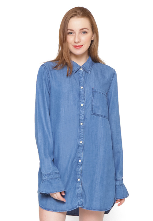 Osella Woman Long Sleeve Shirt With Frill Chambray Slub Navy