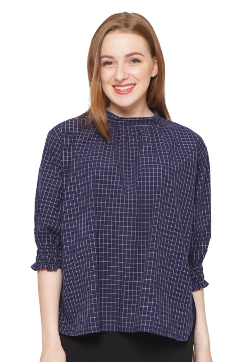 Osella Woman 3/4 Sleeve Shirt With Elastic Navy White Check Navy