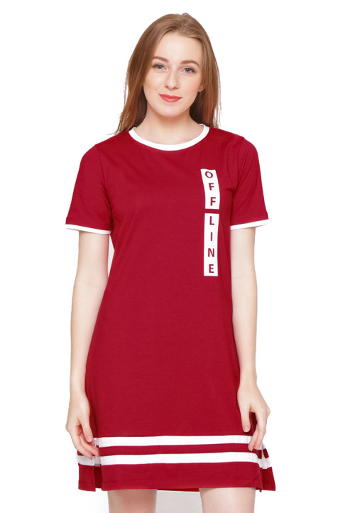 Osella Woman Short Sleeve Dress With Print Off Line Red