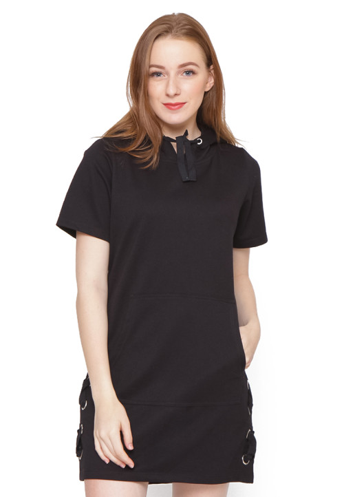 Osella Woman Short Sleeve Dress Terry With Hoody With Variasi Eyelet Black