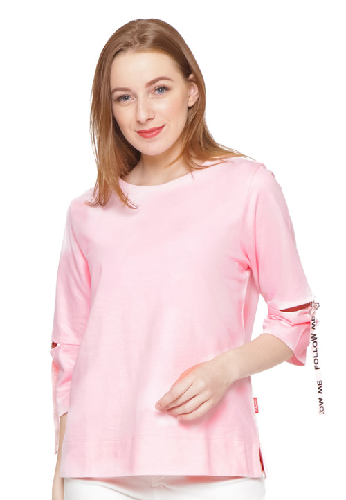 Osella Woman 7/8 Sleeve Tshirt With Tape Print Pink