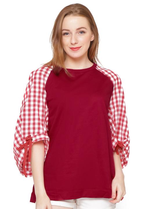 Osella Woman 7/8 Sleeve Tshirt Check Red