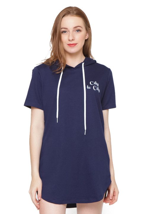 Osella Woman Short Sleeve Tshirt With Hoody Print City To City Navy