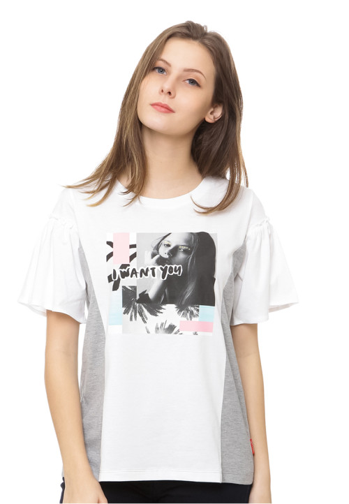 Osella Woman iwant you slogan tshirt white