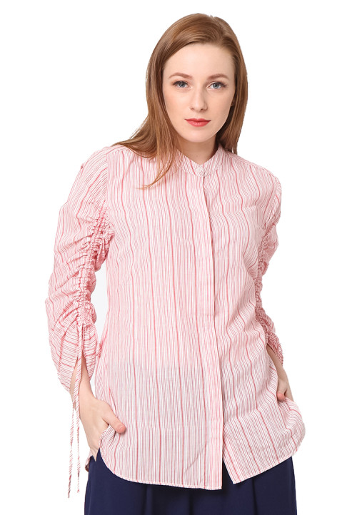 Osella Woman Shirt long sleeve w/ tie ctn slub red white stripe Red