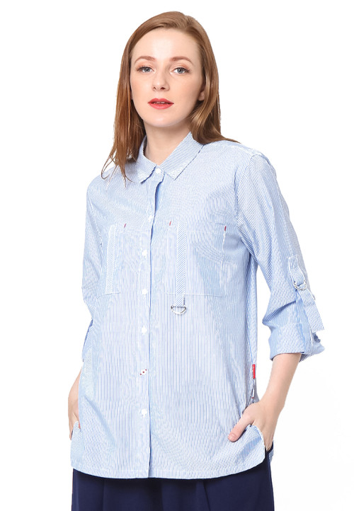Osella Woman long sleeve shirt with variasi buckle Blue