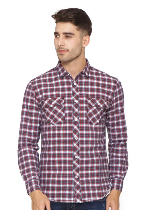 Osella Man Long sleeve shirt indigo red check