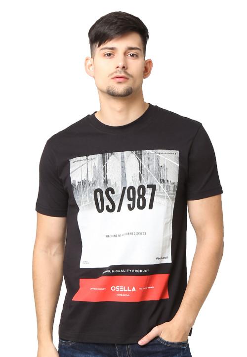 Osella Man T-Shirt Single Jersey 30S Print Os/987 Black Black