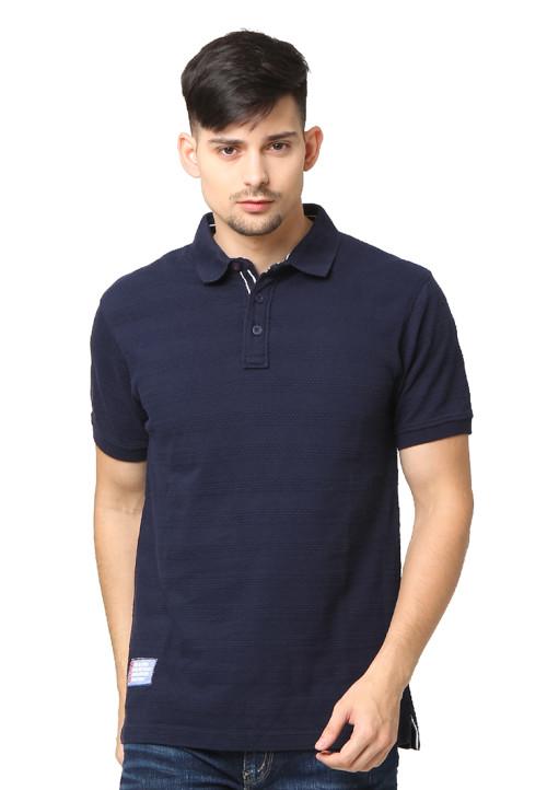 Osella Man Polo Shirt Single Jersey Popcorn 100 Persen Cotton Patch Oxford Navy Indigo