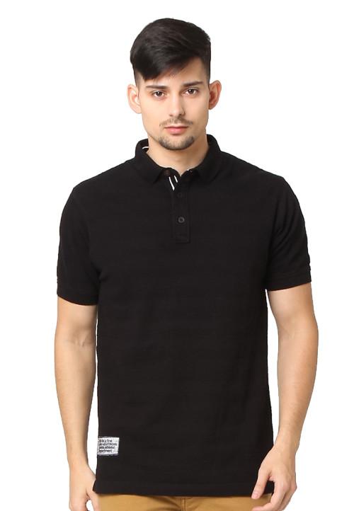 Osella Man Polo Shirt Single Jersey Popcorn 100 Persen Cotton Patch Oxford Navy Black
