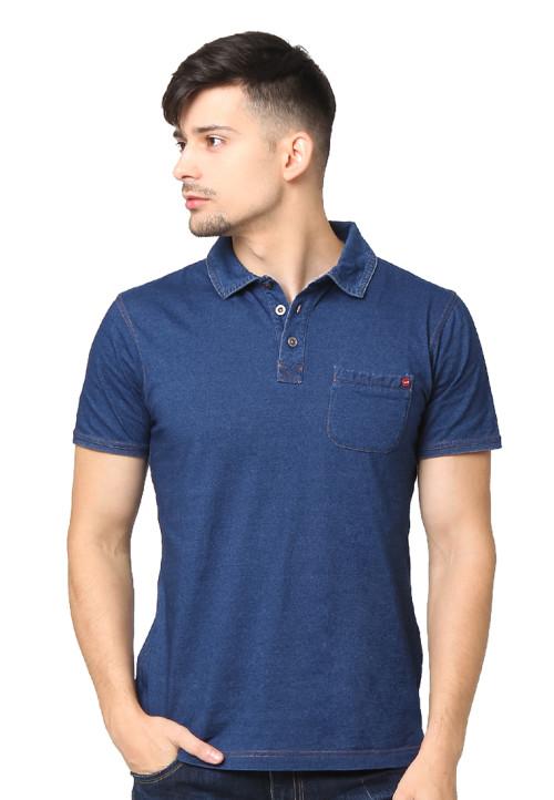 Osella Man Polo Shirt Sj Denim Knit Pcd Polos Navy Indigo