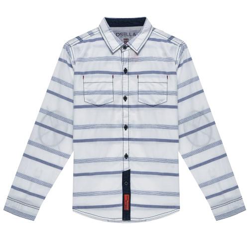 Osella Kids Shirt Long Stripe Check Dobby White Blue L/S White