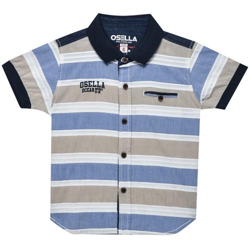 Osella Kids Shirt Short Stripe Ktg Bobok White Blue Brown S/S Blue