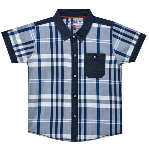 Osella Kids Shirt Short Kantong Chambray White Blue Grey S/S Blue